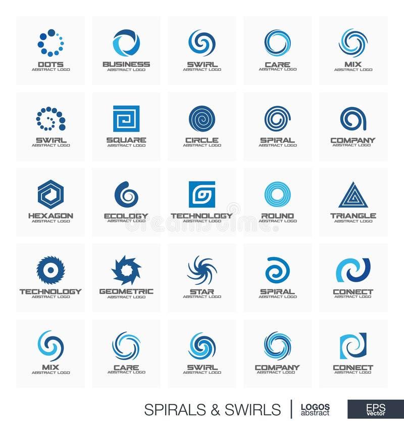 Logo abstrait réglé pour la société commerciale La vague, cercle, ressort, rotation, segment relient le concept Spirale, remous illustration stock
