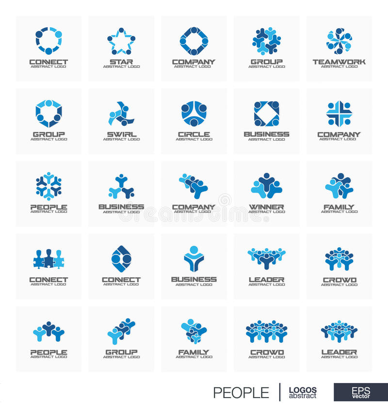 Logo abstrait réglé pour la société commerciale Le chef de personnes, foule, gagnant, famille relient le concept Travail d'équipe illustration libre de droits