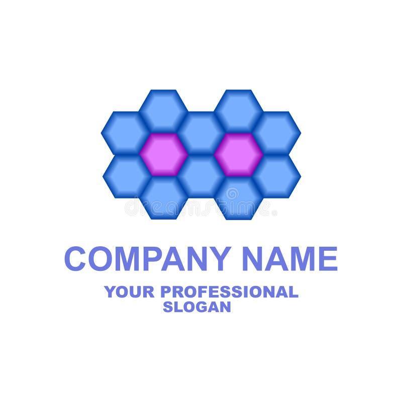 logo abstrakcyjne Dwa kwiatu zrobią sześciokąty w błękita i fiołka kolorach wektor zdjęcie stock