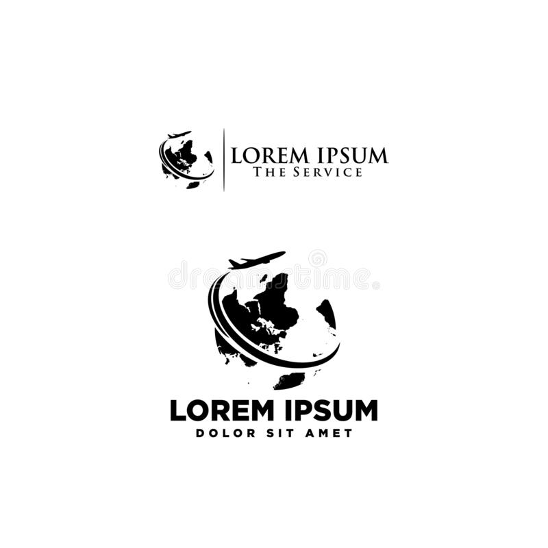 Logo agencji podróży czerń i whie pojęcie royalty ilustracja