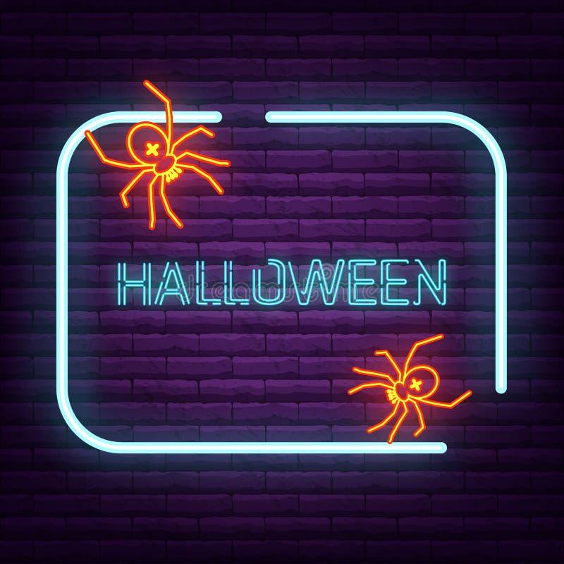 Logo al neon dell'aracnide del segno del ragno sulla parete illustrazione vettoriale
