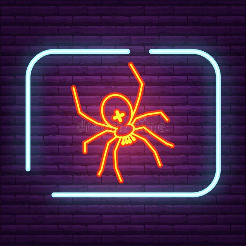 Logo al neon dell'aracnide del segno del ragno sulla parete illustrazione di stock