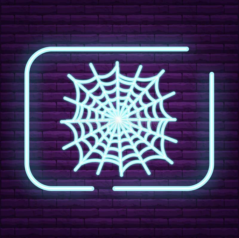 Logo al neon dell'aracnide del segno del ragno sulla parete royalty illustrazione gratis
