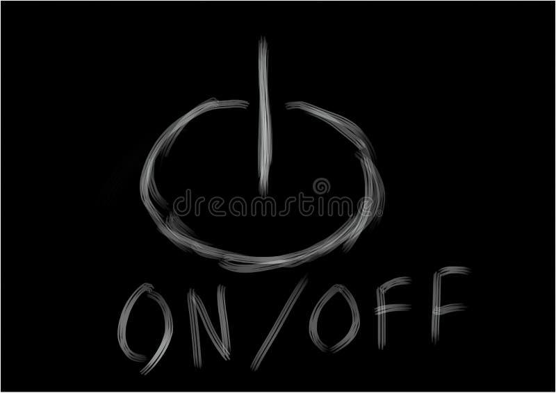 Logo allumé, éteint sur fond noir illustration stock
