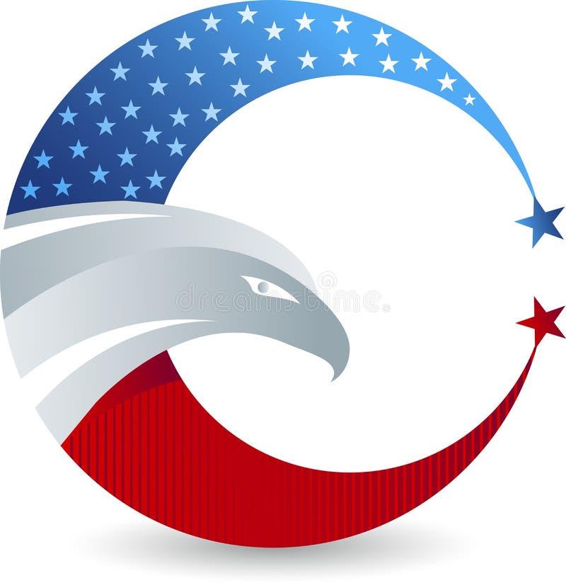 Logo américain d'aigle chauve illustration de vecteur