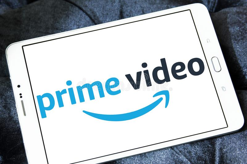 Amazon prime Video logo. Logo of Amazon prime Video on samsung tablet. Amazon Video is an Internet video on demand service that is developed, owned, and operated stock photo
