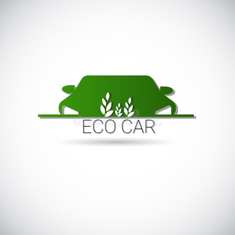 Logo amical de vert d'icône de Web de machine d'environnement de voiture électrique d'Eco illustration stock