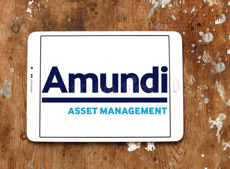 Amundi asset management company logo. Logo of Amundi asset management company on samsung tablet royalty free stock photos