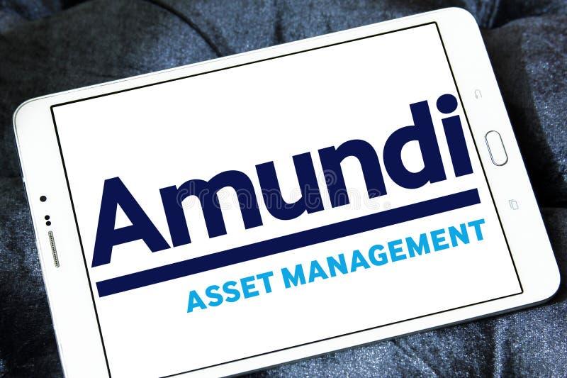 Amundi asset management company logo. Logo of Amundi asset management company on samsung tablet royalty free stock photography