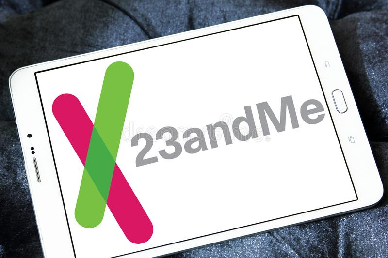 23andMe biotechnology company logo. Logo of 23andMe biotechnology company on samsung tablet. 23andMe is a privately held personal genomics and biotechnology royalty free stock images