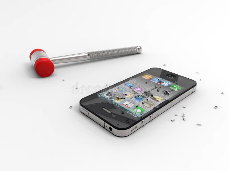 Logo androïde contre Iphone. D'isolement. image libre de droits