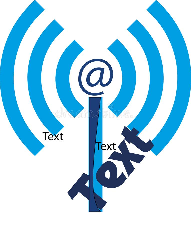 Logo with antenna Wifi, @ and stylized letter I. stock photos