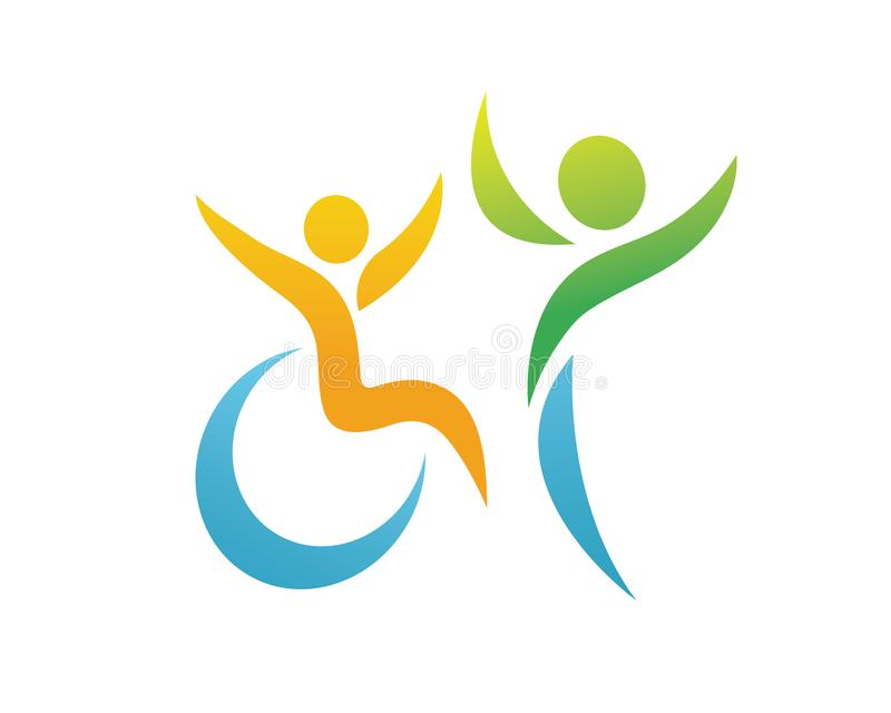 Logo appassionato moderno di sostegno della gente di inabilità illustrazione vettoriale