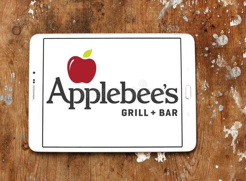 Applebee`s restaurant chain logo. Logo of Applebee`s on samsung tablet. Applebee`s is an American company which develops, franchises, and operates the Applebee`s stock image