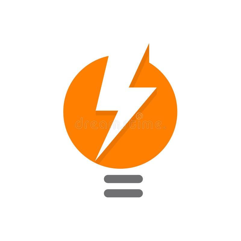 Logo arancio dell'estratto della lampada, lighbulb con la siluetta bianca di fulmine, energia elettrica, idea creativa o un nuovo illustrazione di stock