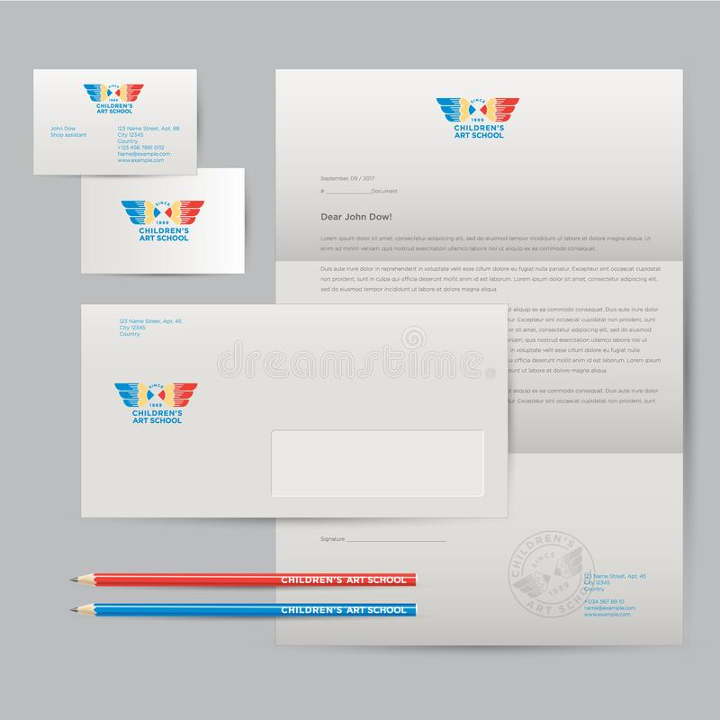 Logo of art school and identity. Pencils with wings emblem. Envelope, letterhead, business cards, pens, pencils, badges and busi stock illustration