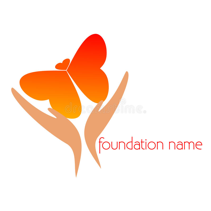 Logo - Association. Butterfly with hearts - Name Association, Onlus stock illustration