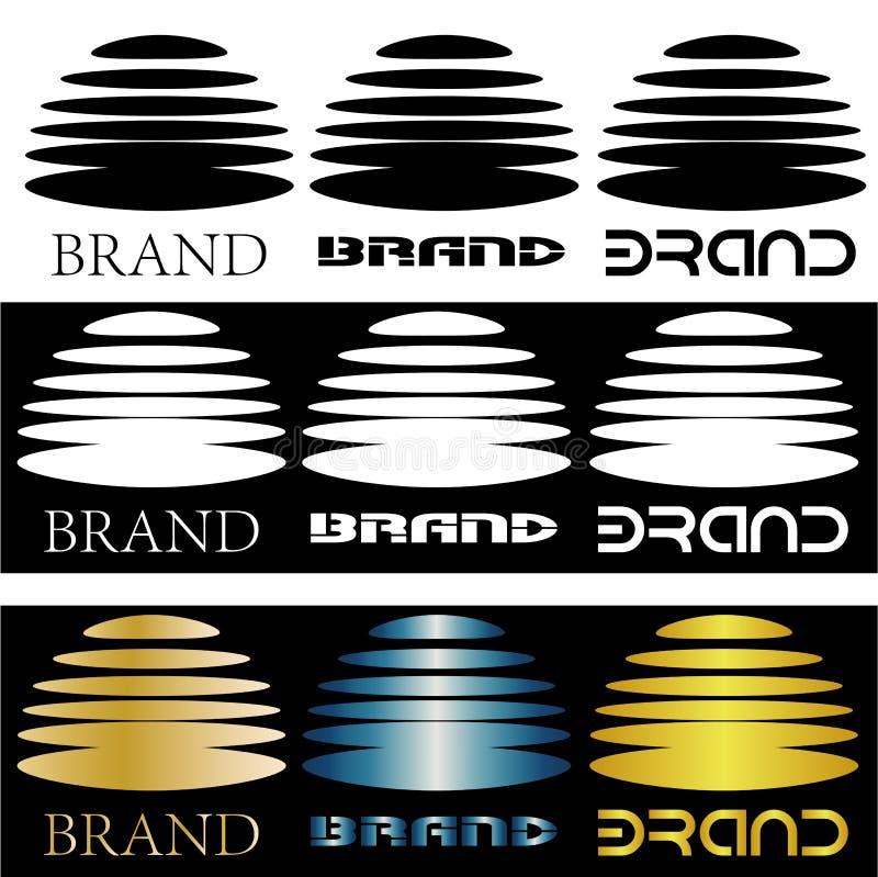 Logo astratto dall'emisfero diviso negli ellissi e nell'iscrizione royalty illustrazione gratis