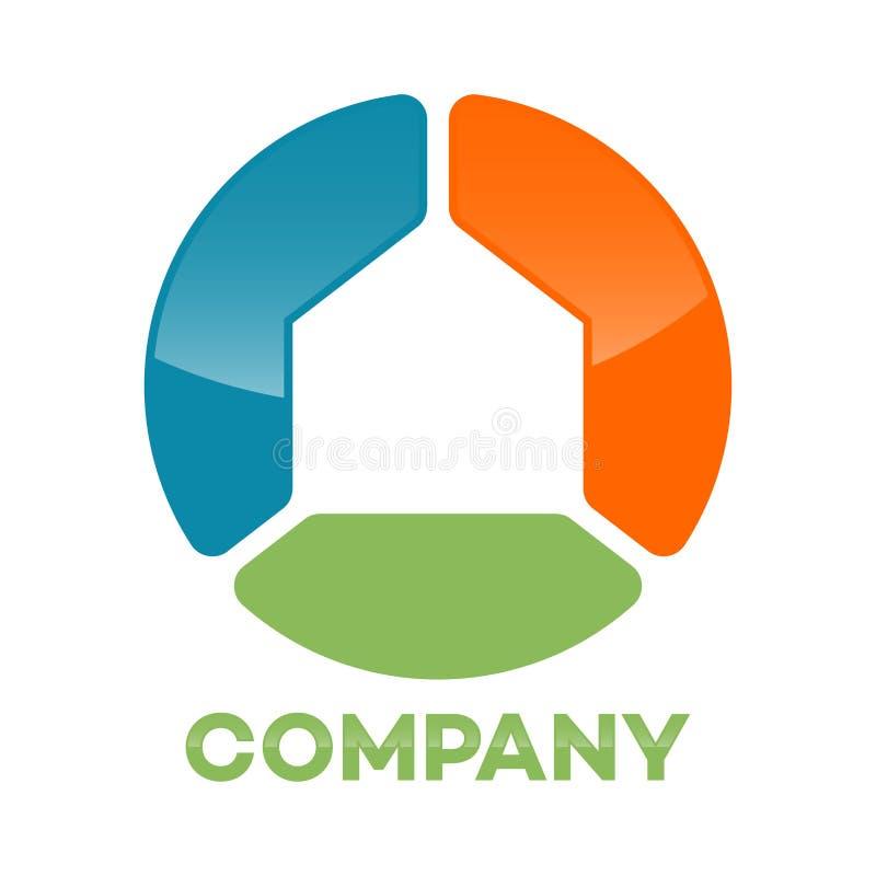 Logo astratto del cerchio della casa Illustrazione di vettore illustrazione di stock