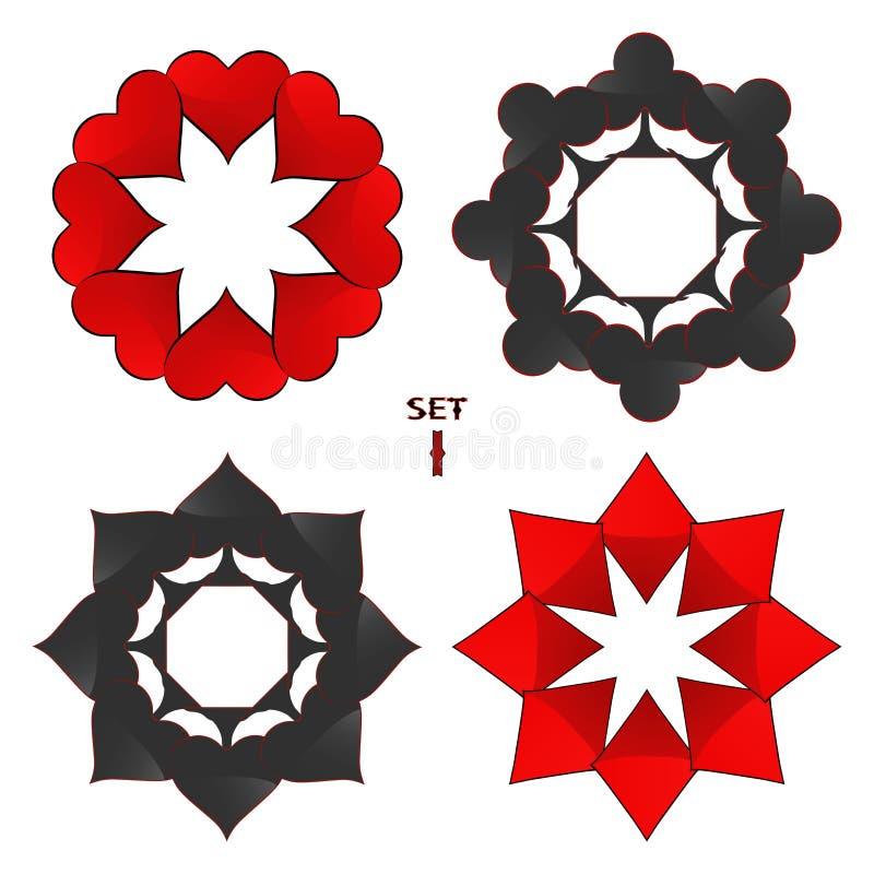 Logo astratto dell'illustrazione di vettore per le carte da gioco dell'insieme in poker di gioco illustrazione di stock