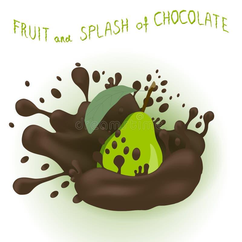 Logo astratto dell'illustrazione dell'icona di vettore per la pera matura di verde della frutta illustrazione di stock