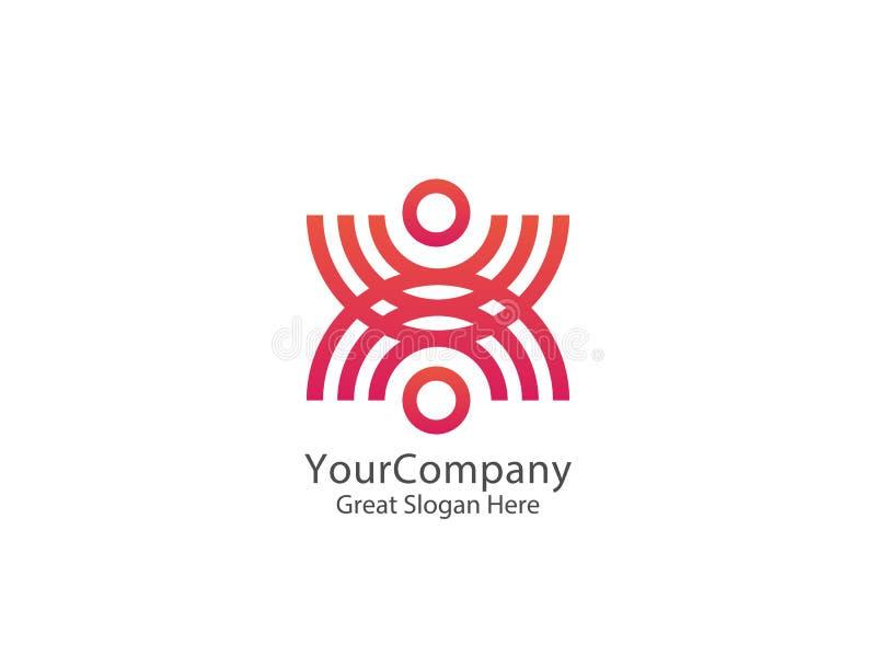 Logo astratto della gente del cerchio della comunità progettazione unita del sindacato illustrazione vettoriale