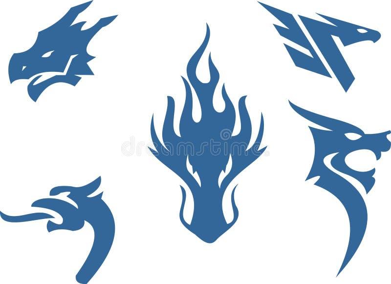 Logo astratto della siluetta della testa del drago immagine stock