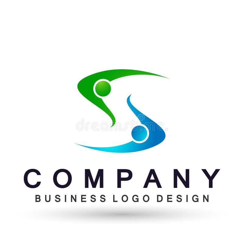 Logo astratto di celebrazione del sindacato della gente sul riuscito logo investito corporativo di affari Icona di concetto di lo illustrazione di stock