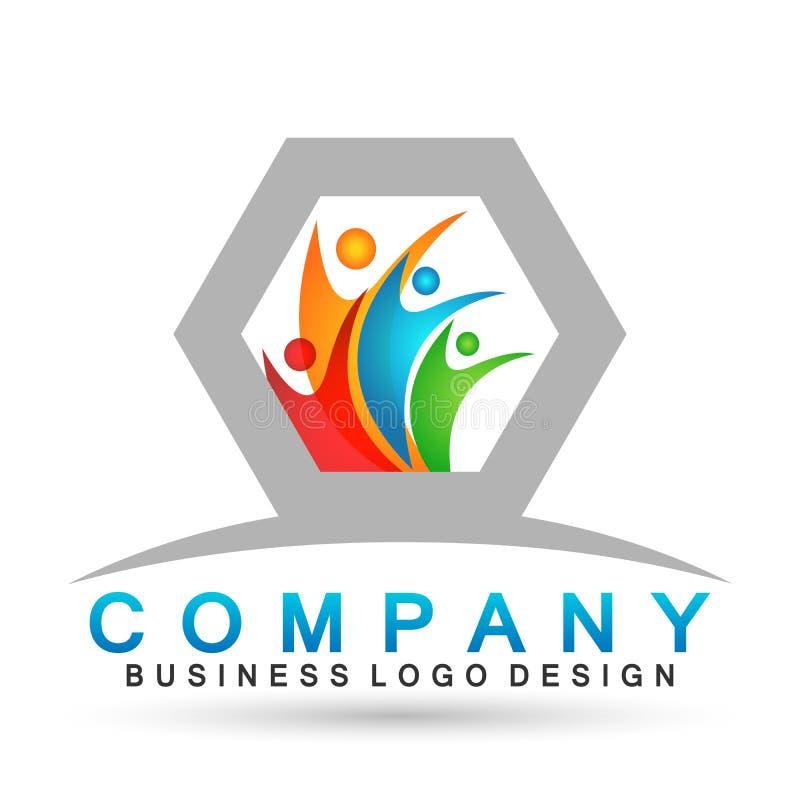 Logo astratto di celebrazione del sindacato della gente sul riuscito logo investito corporativo di affari Icona di concetto di lo illustrazione vettoriale