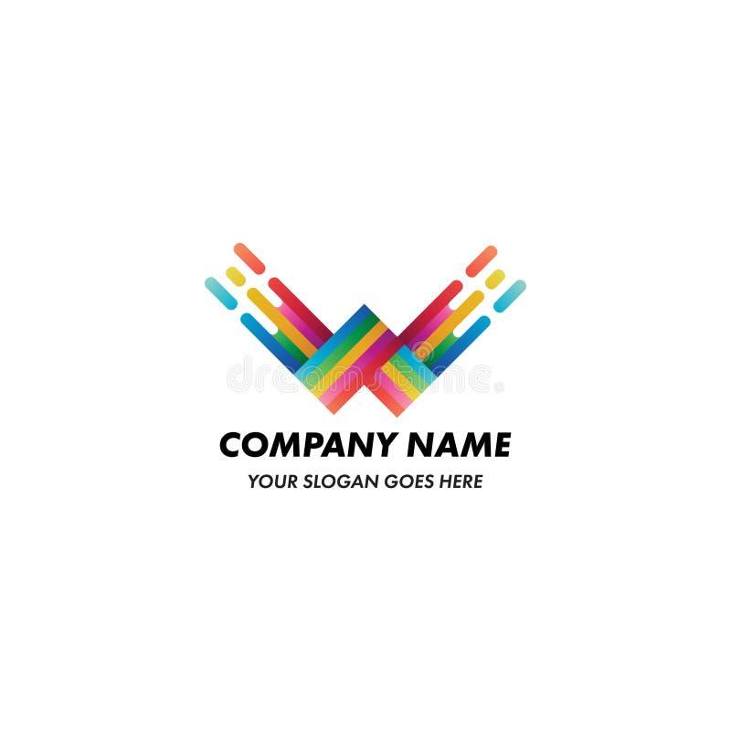 Logo astratto di concetto della pittura della lettera di W illustrazione di stock