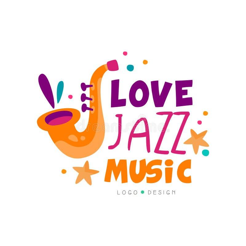 Logo astratto di musica con il sassofono per il concerto in tensione di jazz Progettazione creativa di vettore per la carta dell' royalty illustrazione gratis