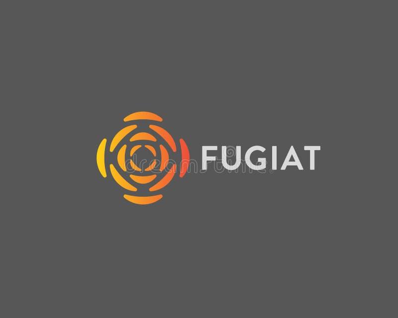 Logo astratto di segmento del cerchio Il fiore geometrico è aumentato logo di vettore di tecnologia di energia illustrazione di stock