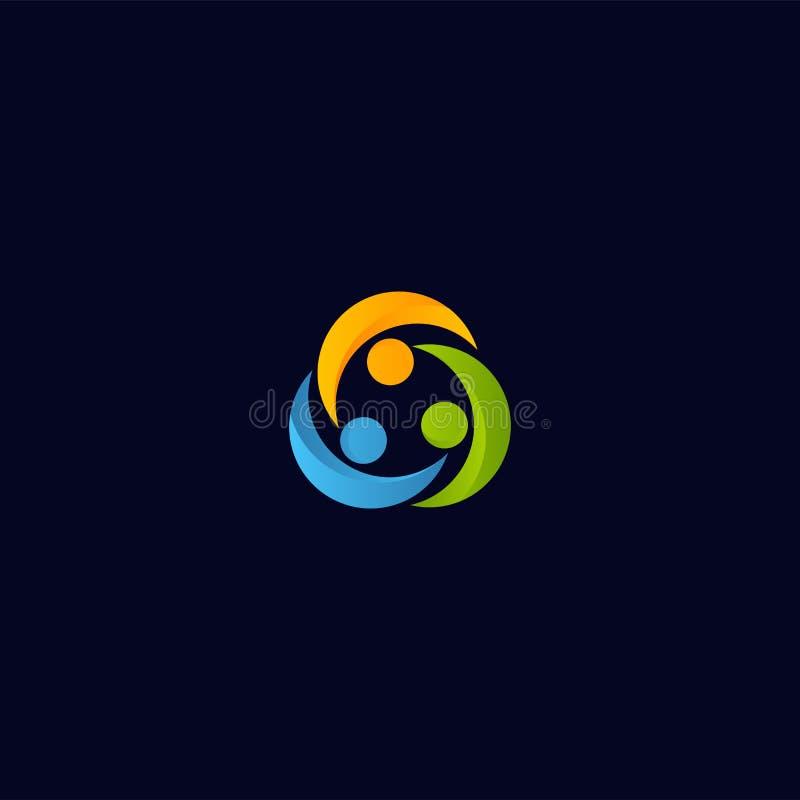 Logo astratto di vettore della gente del sindacato Modello dell'icona isolato collaborazione degli esseri umani Logotype variopin illustrazione vettoriale