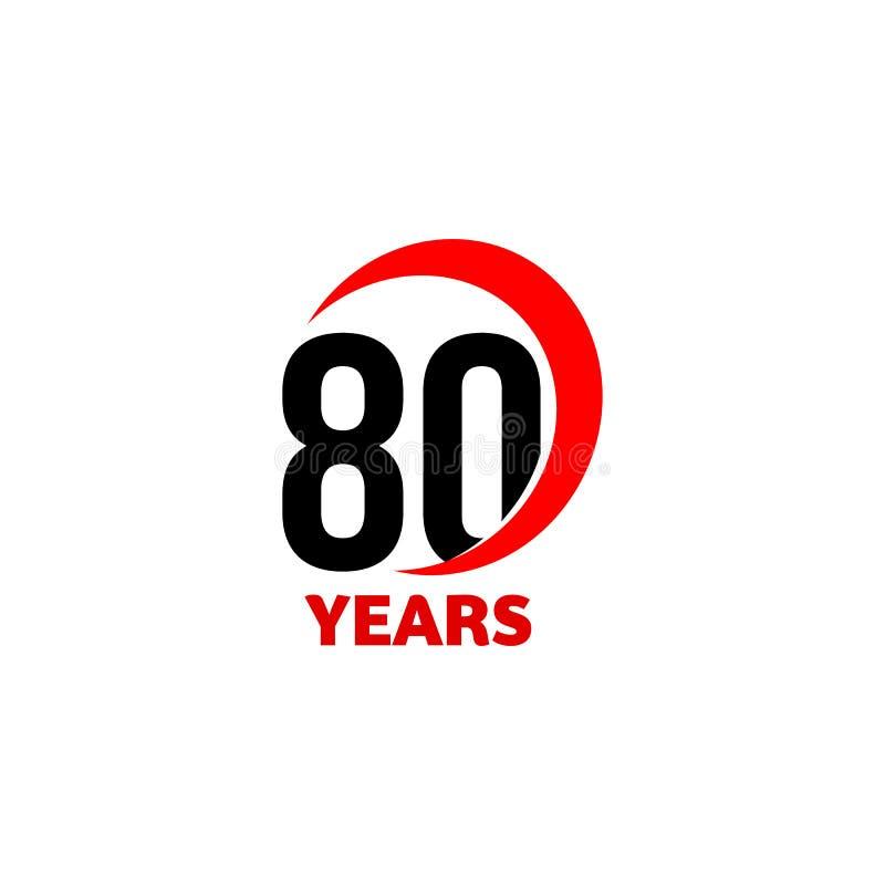logo astratto di vettore di ottantesimo anniversario Icona di giorno di buon compleanno ottanta Numeri neri in arco rosso con tes illustrazione di stock