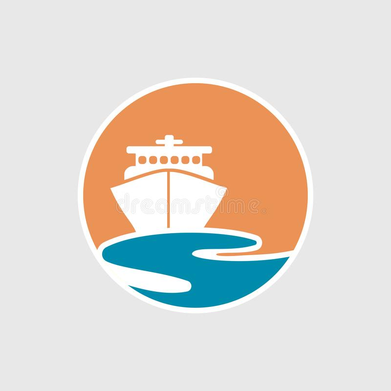 Logo astratto di viaggio con la nave e l'oceano Icona della nave Crociera, giro, concetto di consegna, barca marina Segno del tra illustrazione vettoriale