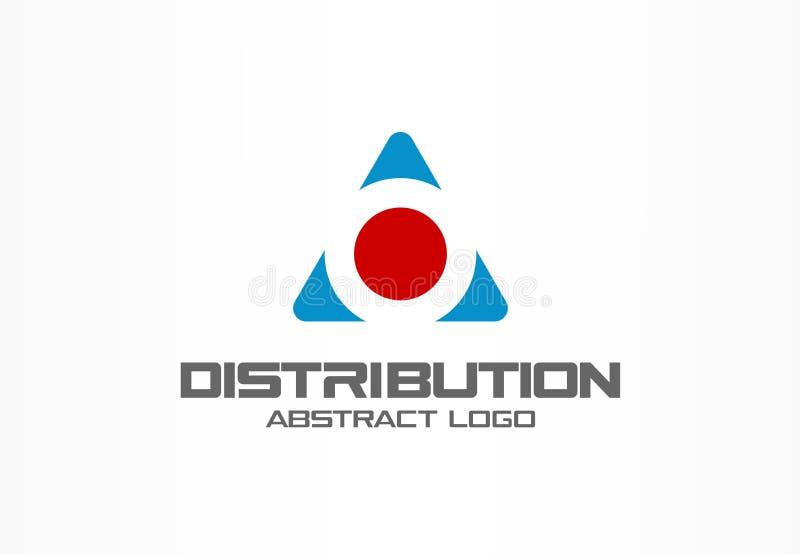 Logo astratto per la società di affari Elemento di progettazione di identità corporativa Contenitore e frecce di carico intorno,  illustrazione di stock