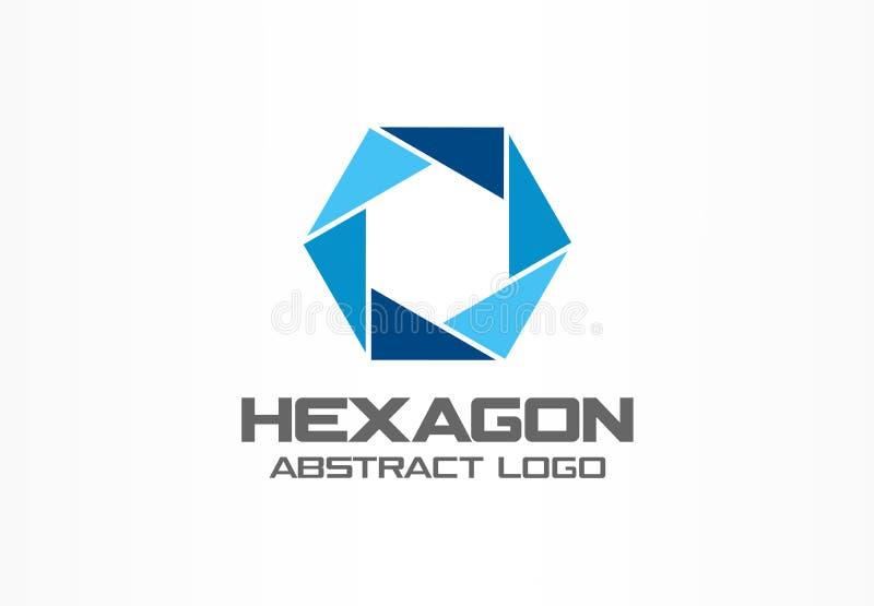 Logo astratto per la società di affari Elemento di progettazione di identità corporativa Diaframma della macchina fotografica, ot illustrazione vettoriale