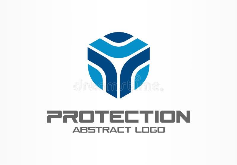 Logo astratto per la società di affari Elemento di progettazione di identità corporativa Guardia, schermo, idea sicura del logoty illustrazione vettoriale