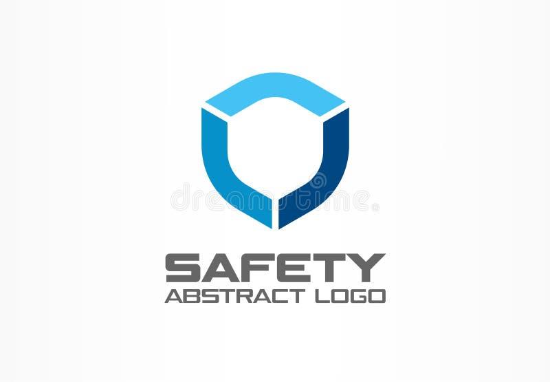 Logo astratto per la società di affari Elemento di progettazione di identità corporativa Guardia, schermo, idea sicura del logoty illustrazione di stock