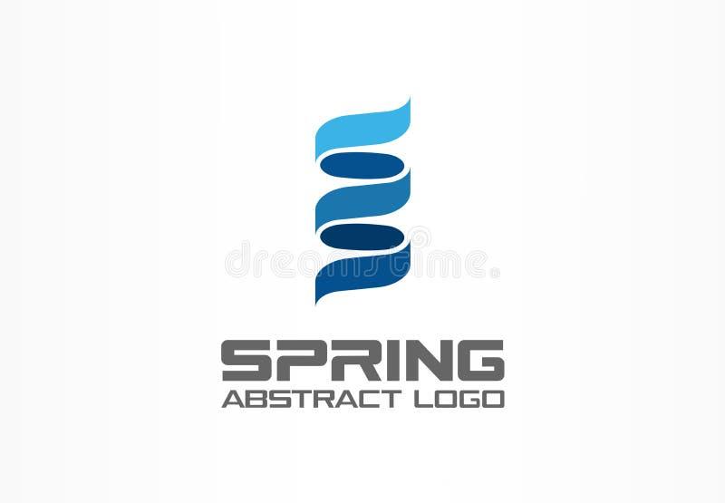 Logo astratto per la società di affari Elemento di progettazione di identità corporativa Molla del DNA, sviluppo, logotype di rot illustrazione di stock