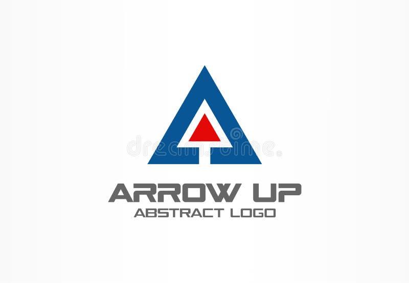 Logo astratto per la società di affari Tecnologia, industriale, idea del logotype del mercato Freccia rossa su, grafico di cresci royalty illustrazione gratis