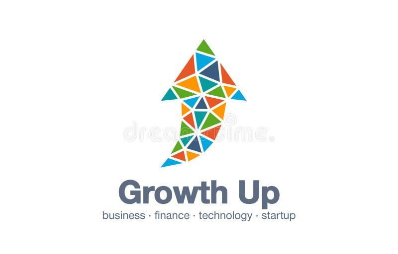 Logo astratto per la società di affari Tecnologia, industriale, idea del logotype del mercato Freccia su, grafico di crescita, gr illustrazione di stock