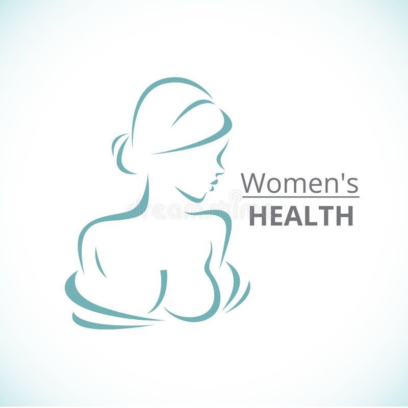 Logo astratto un ritratto stilizzato di bella donna royalty illustrazione gratis