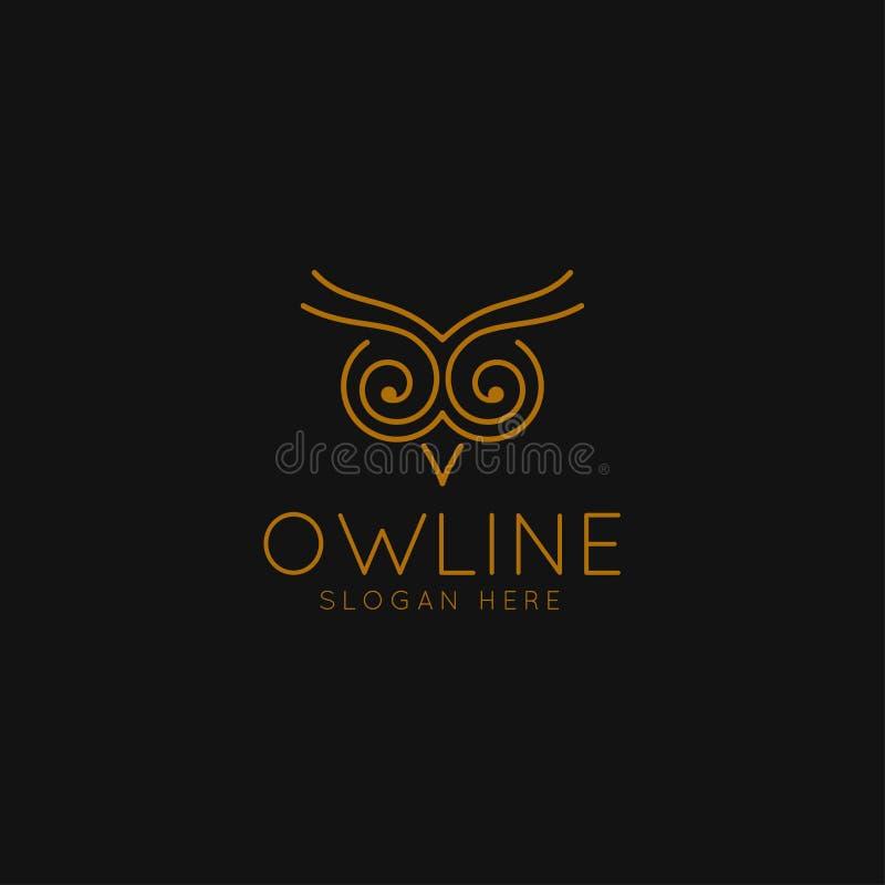 Logo astuto di istruzione con Owl Symbol e la linea concetto di arte illustrazione di stock