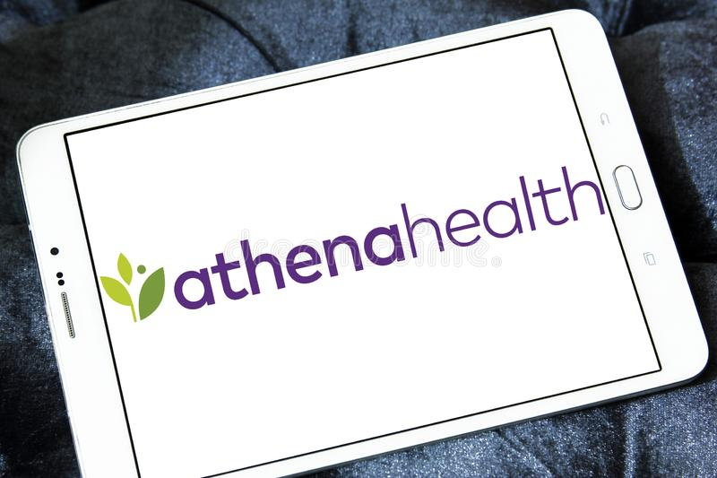Athenahealth Healthcare Technology company logo. Logo of athenahealth on samsung tablet . athenahealth is a publicly traded American company that provides royalty free stock photos