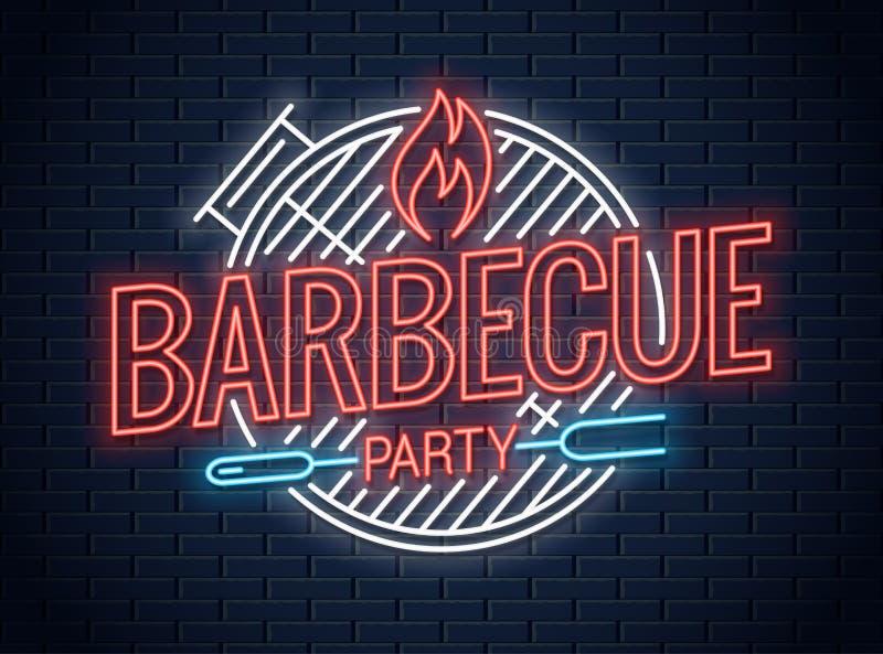 Logo au néon de gril de barbecue Enseigne au néon de BBQ sur le mur illustration stock