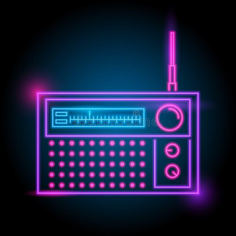 logo au néon par radio Lueur dans l'obscurité saison électrique de thème boîte de nuit de partie illustration stock