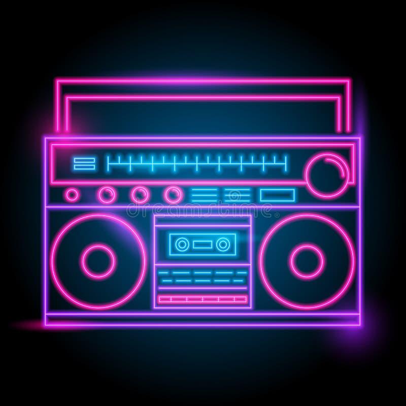 logo au néon par radio Lueur dans l'obscurité saison électrique de thème boîte de nuit de partie illustration libre de droits