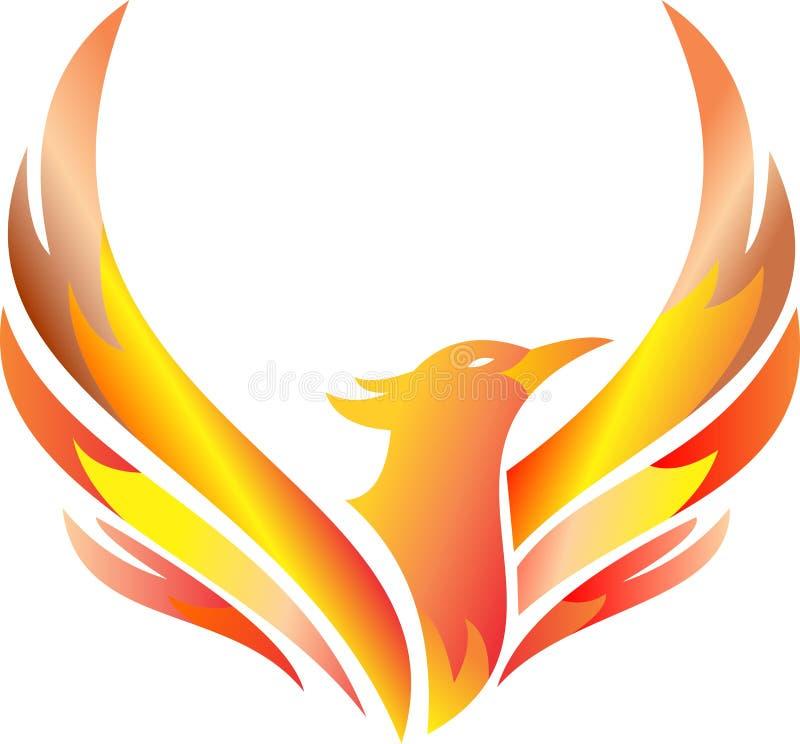 Logo auf Lager loderndes fliegendes Phoenix stockfotografie