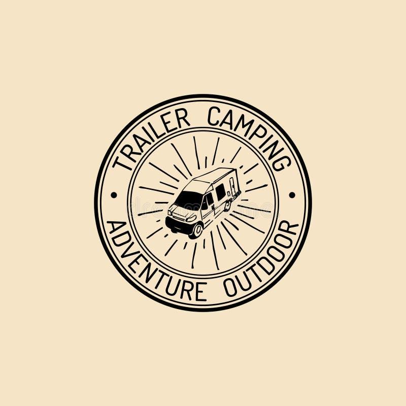 Logo authentique de camp de vecteur Signe de touristes avec la remorque tirée par la main Rétro emblème de hippie, insigne, label illustration stock